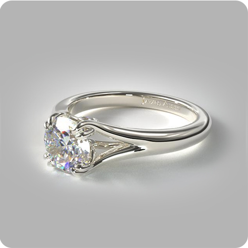 Using Pinterest to Find Your Partner's Dream Ring: Split Shank Solitaire Engagement Ring.
