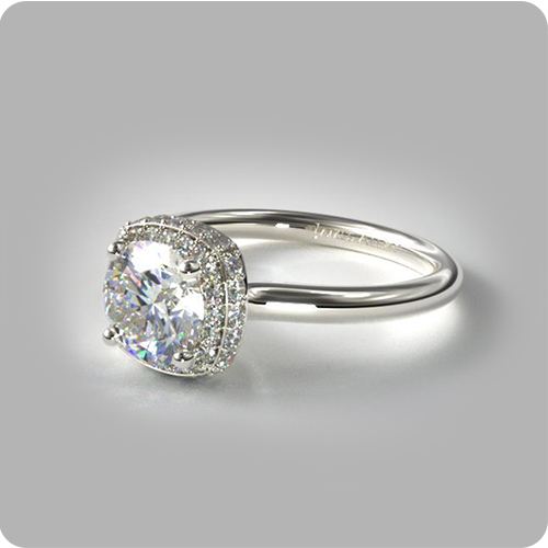 Using Pinterest to Find Your Partner's Dream Ring: Cushion Outline Halo Engagement Ring