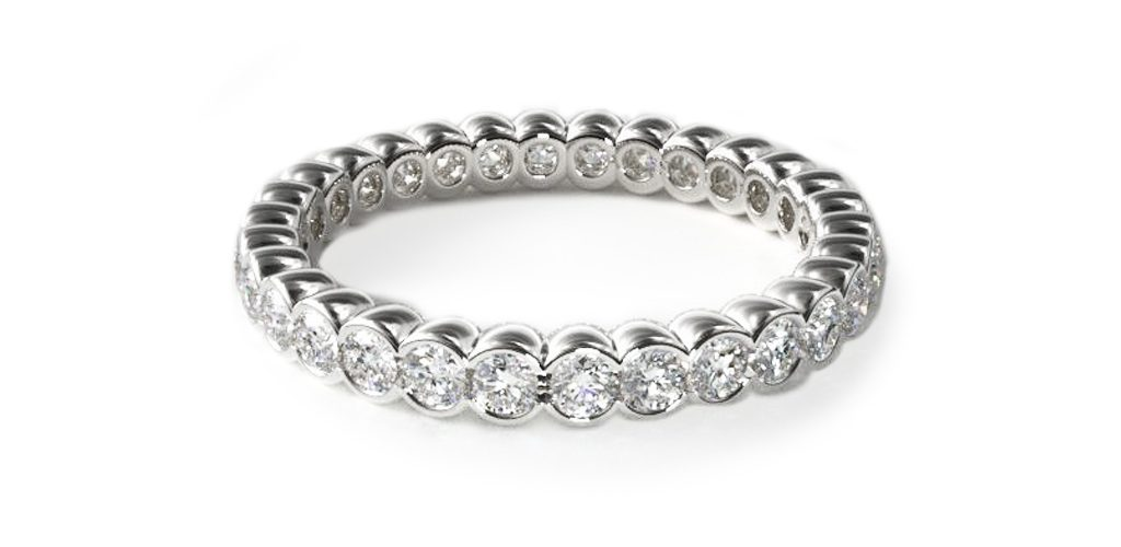 White Gold Half Bezel Set Diamond Eternity Ring - Stackable Rings