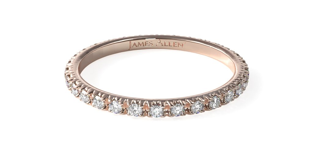 Rose Gold Thin French Cut Pavé Eternity Ring - Stackable Rings