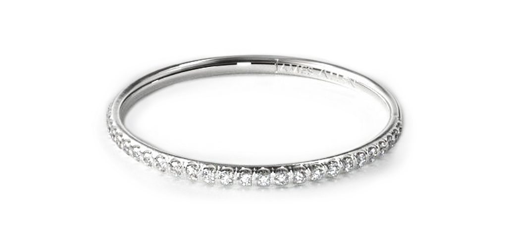 White Gold Pavé Rounded Wedding Ring - Stackable Rings