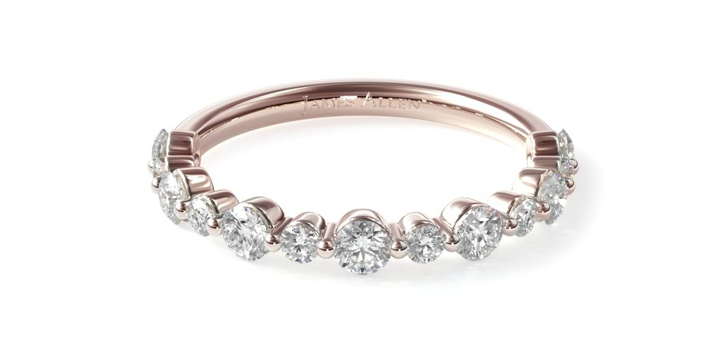 Rose Gold Shared Prong Alternating Diamond Ring - Stackable Rings