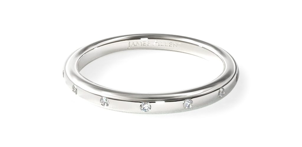 White Gold Sleek Accent Diamond Ring - Stackable Rings