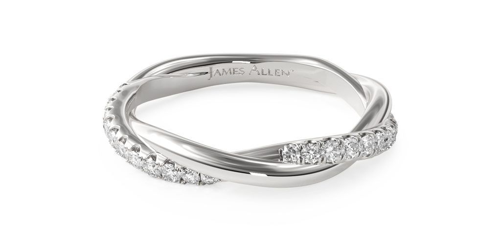 White Gold Twisted Pavé Wedding Ring - Stackable Rings