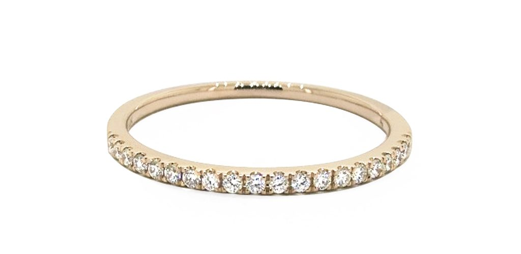 Yellow Gold Single Row Diamond Ring - Stackable Rings