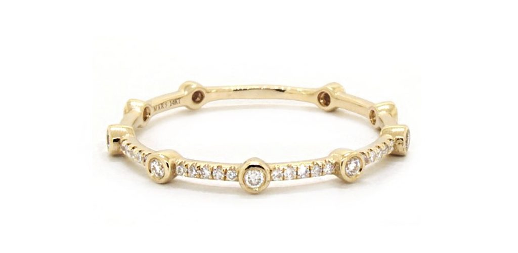 14K Yellow Gold Petite Station Diamond Ring - Stackable Rings