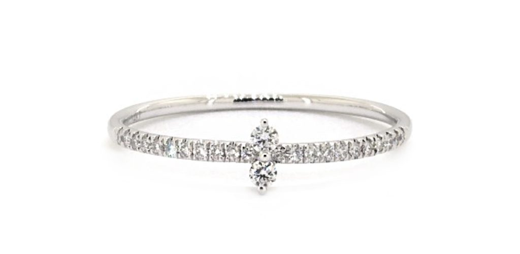 White Gold North South Diamond Ring - Stackable Rings