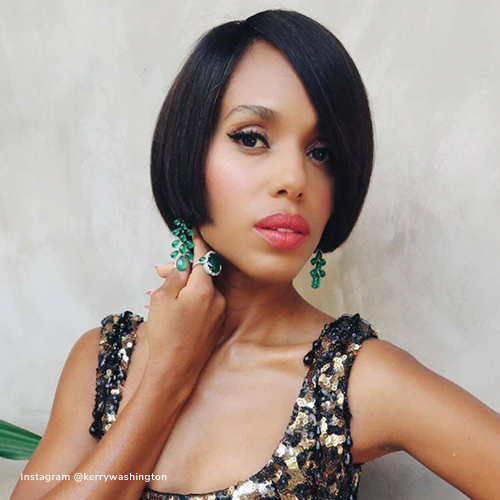 Kerry Washington wearing emerald ring
