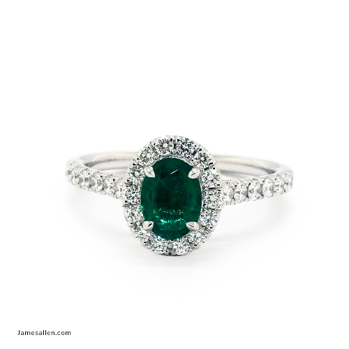 2020 Emmy Awards - Oval Halo Emerald & Diamond Ring