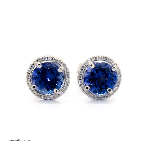 2020 Emmy Awards - Round Halo Tanzanite & Diamond Earrings