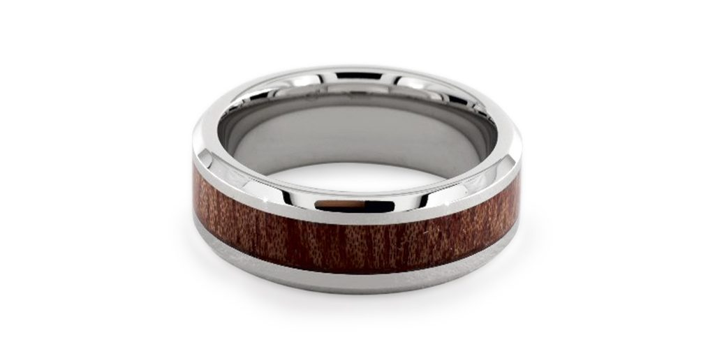 Cobalt Chrome™ 8MM Wood Grain Comfort Fit Ring