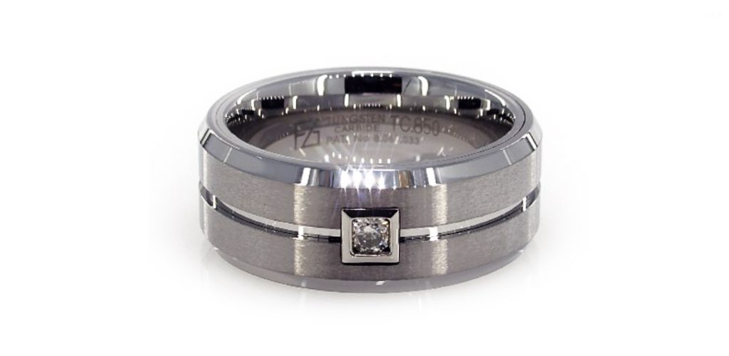 White Tungsten Carbide 9MM Round Diamond Band By TRITON