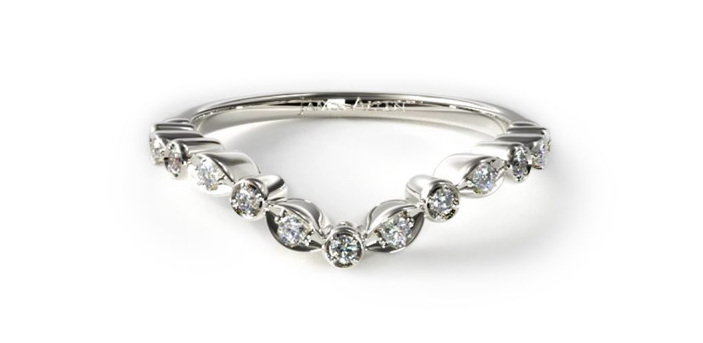 14K White Gold Alternating Shape Diamond Band