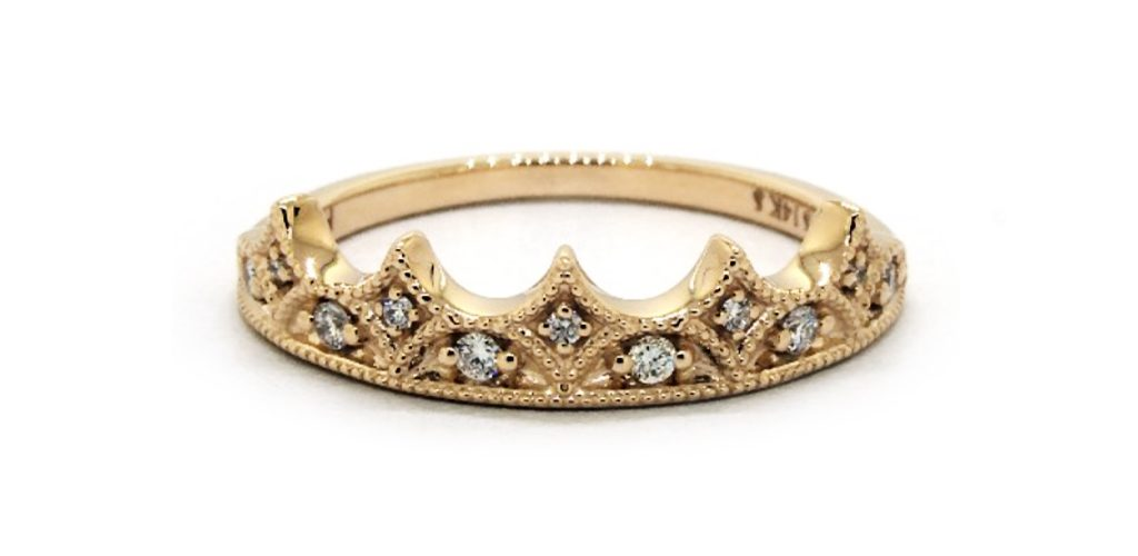 14K Yellow Gold Crown Diamond Ring