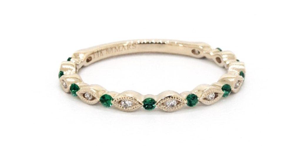 Emerald and Diamond Wedding Ring