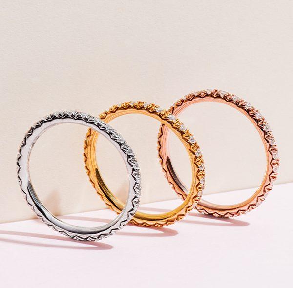 unique wedding rings: yellow gold wedding ring, rose gold wedding ring, white gold wedding ring