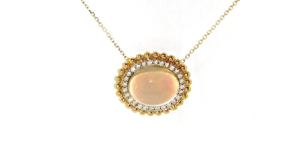 The October birthstone: Opal Necklace With Beaded Diamond Halo