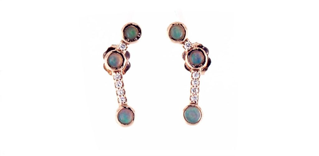 The October birthstone: Rose Gold Opal Earrings With Diamond Accents