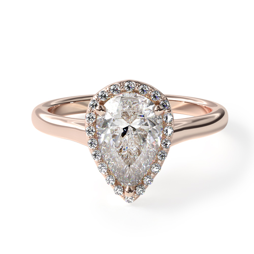 Fall proposal ideas: rose gold pear diamond halo engagement rings