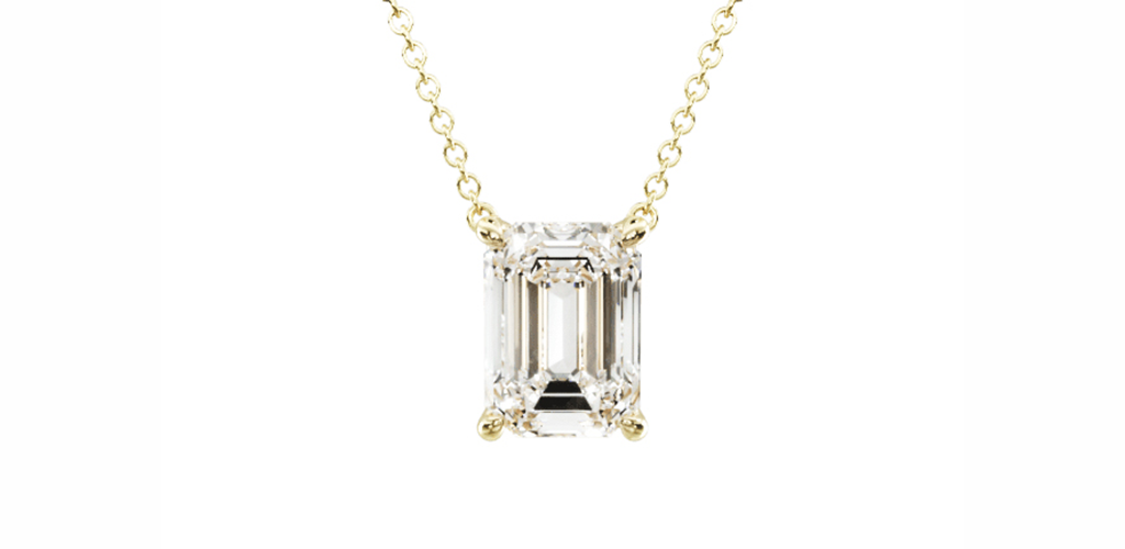 14K Yellow Gold Emerald Cut Diamond Solitaire Pendant