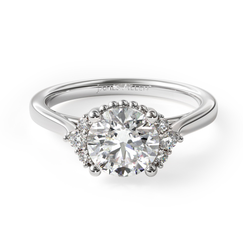 Fall proposal ideas: white gold beaded halo engagement ring