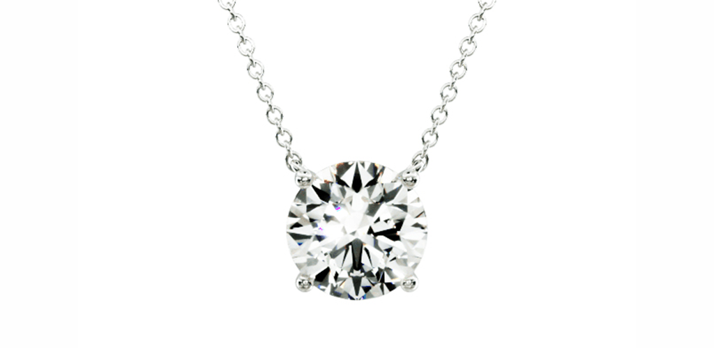 14K White Gold Four Prong Basket Solitaire Lab Created Diamond Pendant