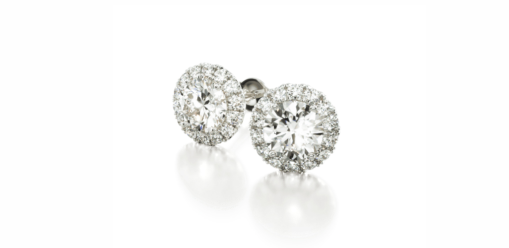 White Gold Halo Diamond Earrings - Winter Jewelry Guide