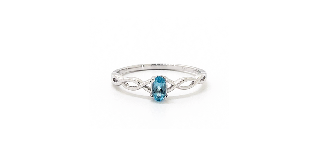 14K White Gold Infinity Blue Topaz Birthstone Ring