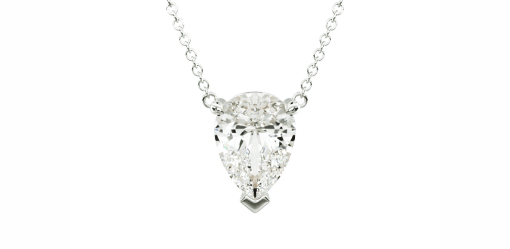14K White Gold Pear Shape Diamond Solitaire Pendant