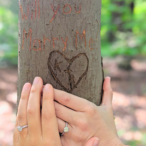 "Fall Proposal Ideas: a woman proposes to her girlfriend by carving ""Marry Me?"" into a tree."