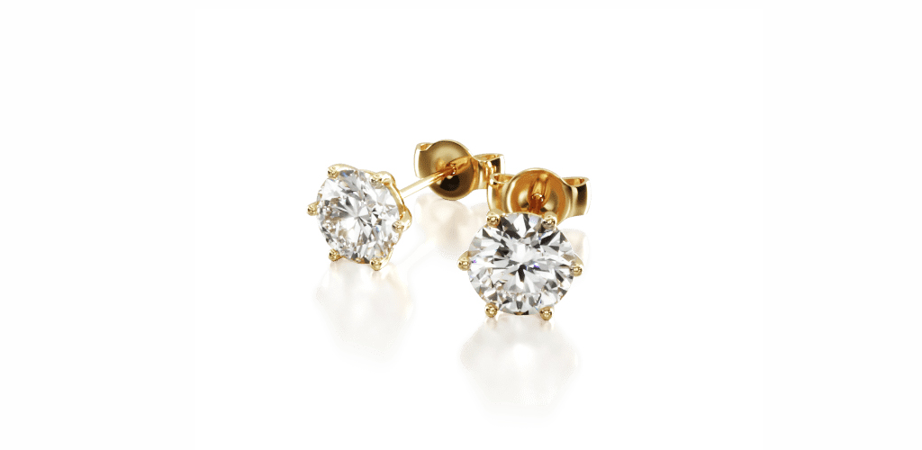 14K Yellow Gold Six Prong Wire Basket Diamond Stud Earrings