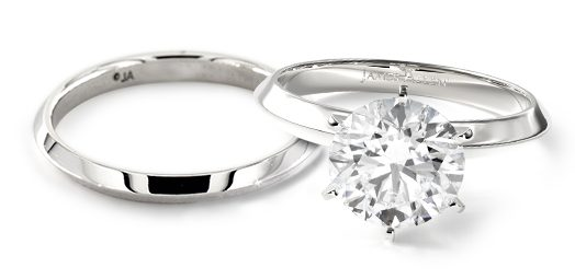 engagement ring and wedding band: completely classic matching wedding rings
