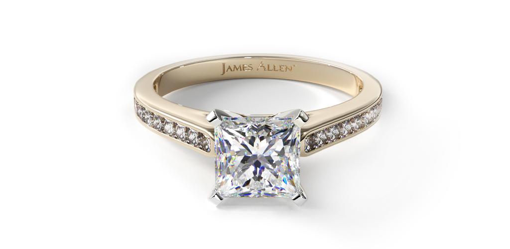 14K Yellow Gold Thin Channel Set Princess Shaped Diamond Engagement Ring