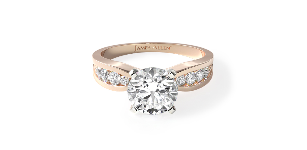 14K Rose Gold Bow-Tie Channel Set Diamond Engagement Ring