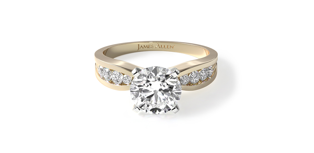 2021 engagement ring trends - yellow gold bow tie channel set engagement ring
