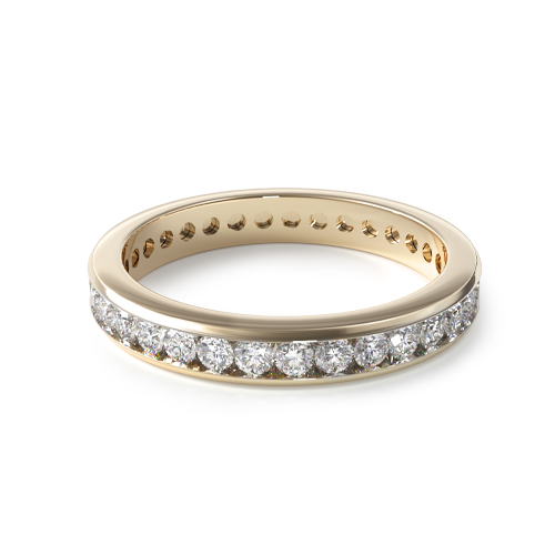14K Yellow Gold Ladies Channel Set Diamond Eternity Ring