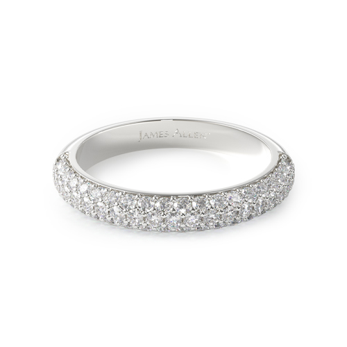 14K White Gold Two Row Pave Ring