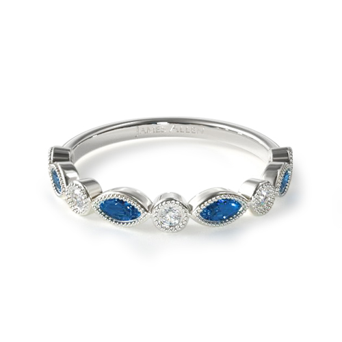 How to wear a wedding ring - sapphire and diamond wedding ring