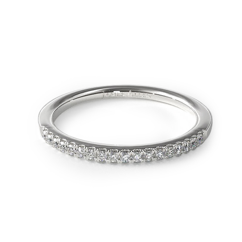 How to wear a wedding ring - half pave diamond wedding ring