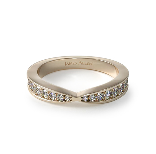 14K Yellow Gold Tapered Pave Band