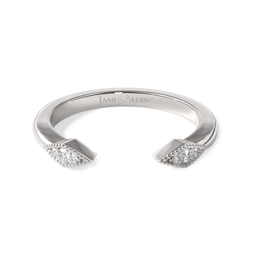 14K White Gold Open Marquise Shape Band