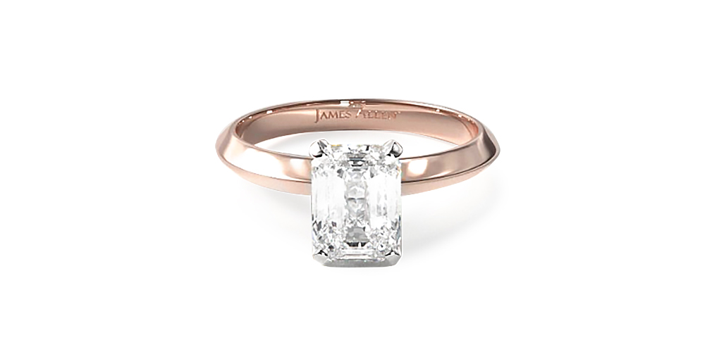 Knife Edge Solitaire Engagement Ring with a lab-grown diamond