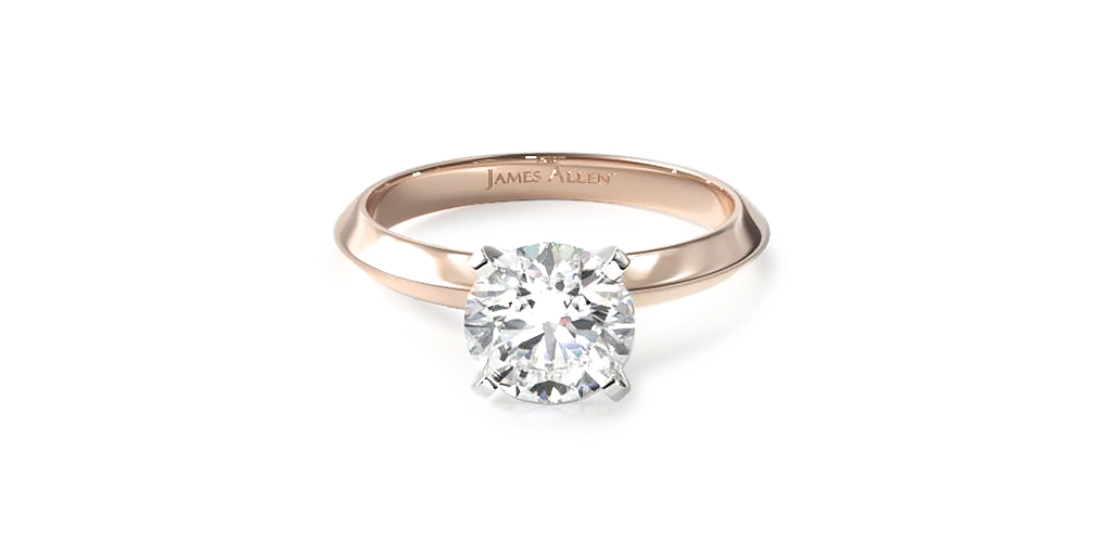2021 engagement ring trends - rose gold knife edge solitaire engagement ring