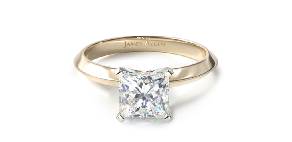 14K Yellow Gold 2mm Knife Edge Solitaire Engagement Ring