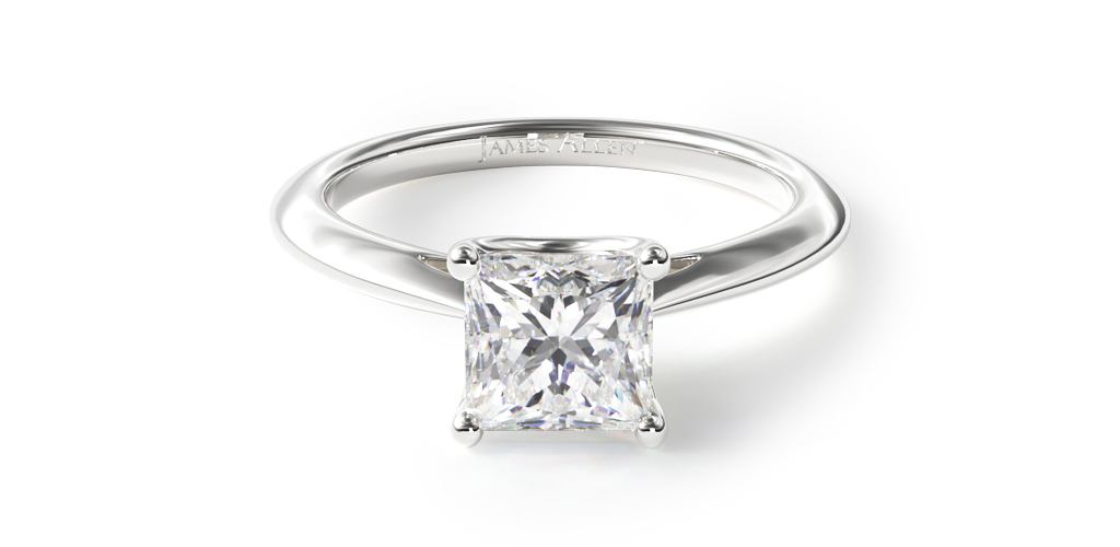 14K White Gold 2.5mm Comfort Fit Solitaire Engagement Ring