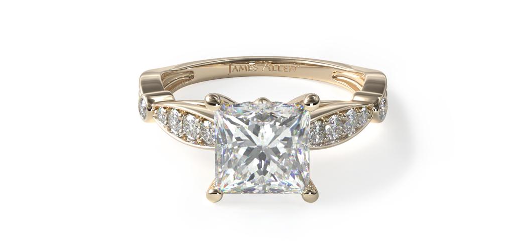 14K Yellow Gold Embossed Diamond Engagement Ring