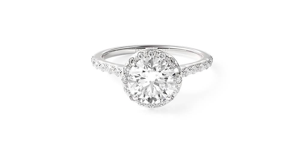 Pavé Halo & Shank Engagement Ring with a lab-grown diamond