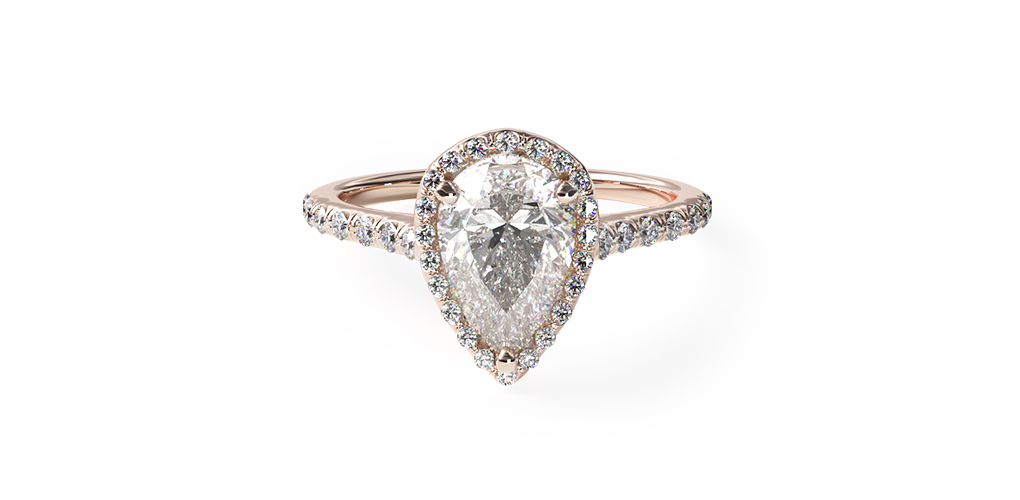 2021 engagement ring trends - rose gold custom pave halo and shank engagement ring