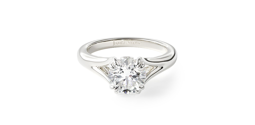 2021 engagement ring trends - white gold split shank engagement ring