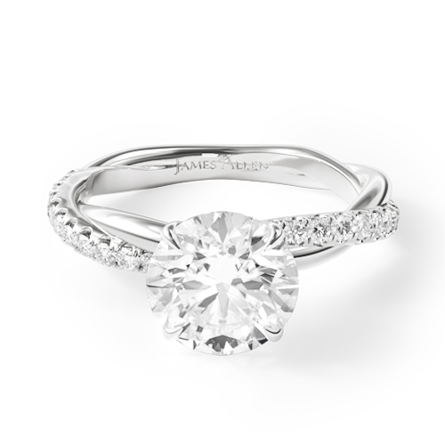 white gold twisted pave engagement ring